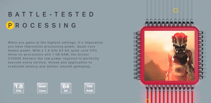 C5400X 採用 1.8GHz 四核心 CPU。