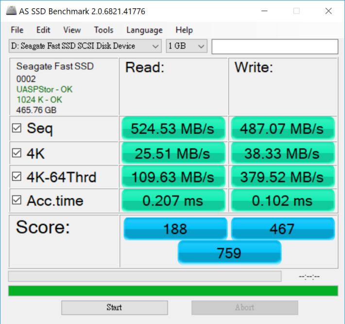 《AS SSD Benchmark 2.0》測試總分為 759 分。