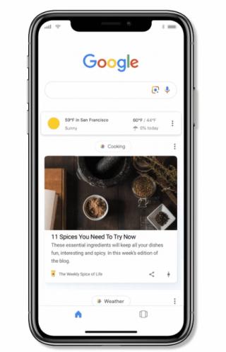 在 Google app 的搜尋列會顯示