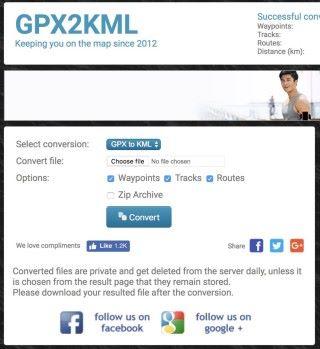 GPX2KML 幫大家轉換 GPX 路線資料為 KML 格式