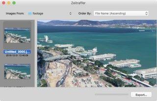 使用《 Zeitraffer 》之類的縮時影片合成軟件就可以將 Earth Studio 匯出的照片轉換成影片。