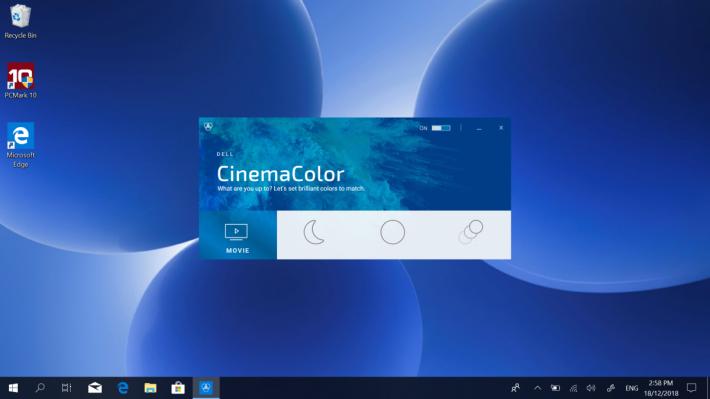 系統預載「Dell Cinema」功能,可以針對影片播放提供更佳的聲畫效果。