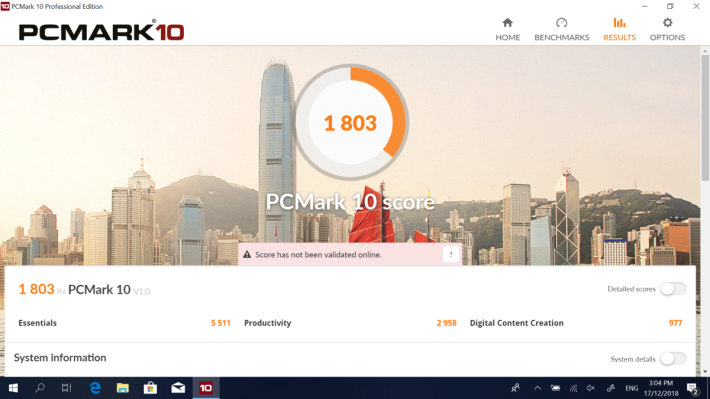 《PCMark 10》測試取得1,803 分。