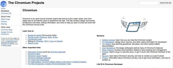 Chromium 是 Google 為 Chrome 瀏覽器開設的開源專案
