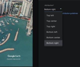 因為版權問題,必須在匯出時顯示 Google Earth 和相關版權擁有人的名稱,但就可以調整擺放位置。