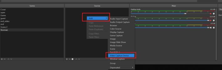 打開 OBS Studio 後,於來源一列中右鍵選「新增→視訊擷取裝置」。