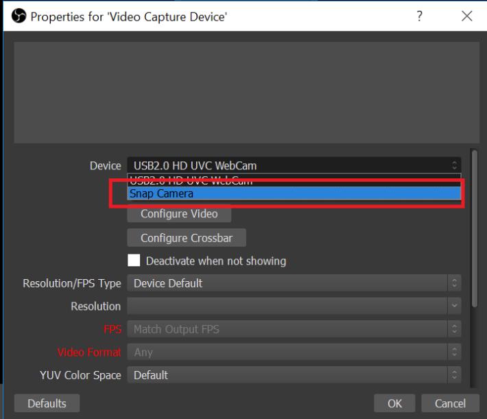 除了本來的網絡攝影機外,將會新增一項「 Snap Camera 」並點選它。