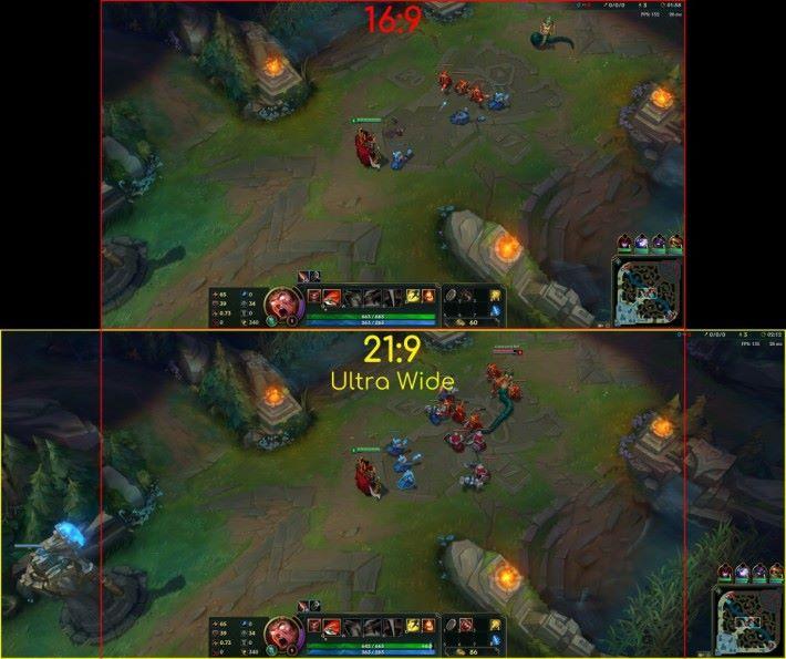 《英雄聯盟》中如以 21:9 屏幕遊玩就能更早一步避開敵人 Gank 線。