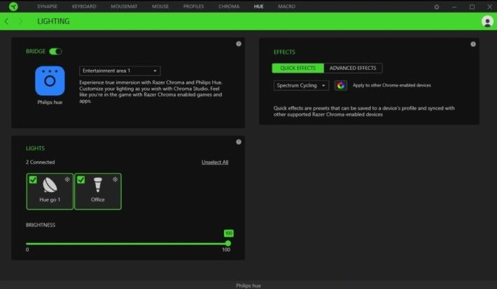 Chroma Studio 內玩家可自行作各種設定,包括 Razer 本身的鍵盤燈效,以及 Philips Hue 的燈效。