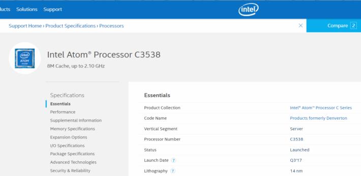 據 Intel 官網,Atom C3538 面向伺服器市場。