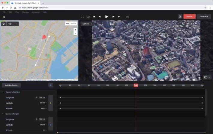 軟件只要簡單設定關鍵影格、地理座標、軌跡和鏡頭方向就可以。