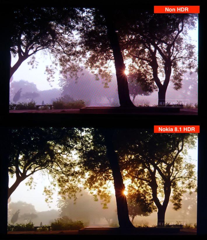 Nokia 8.1 的屏幕(下)備有 HDR,跟沒有HDR的屏幕(上)比較,可見 Nokia 8.1 的畫面能呈現原有色彩,光、暗位都無過暴或過暗情況,影像細緻又實淨。
