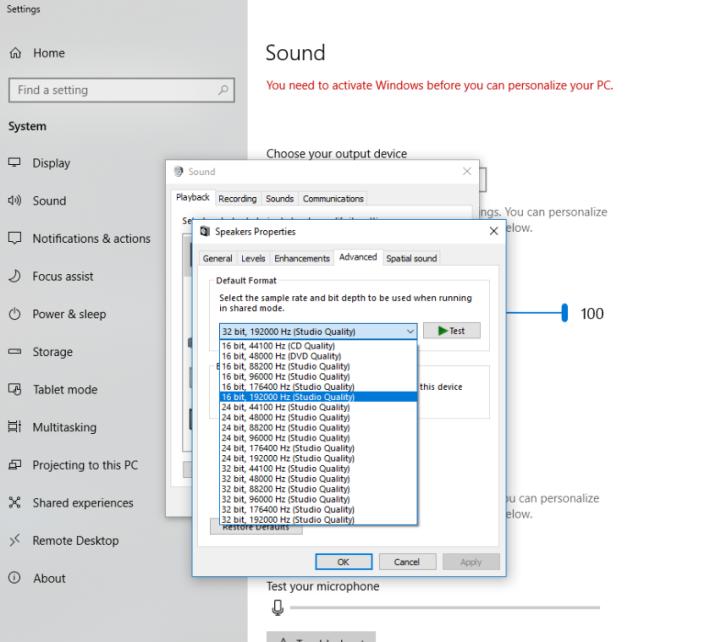 於「聲音→播放→點選耳機再選內容→進階」中就能夠打開此頁面。