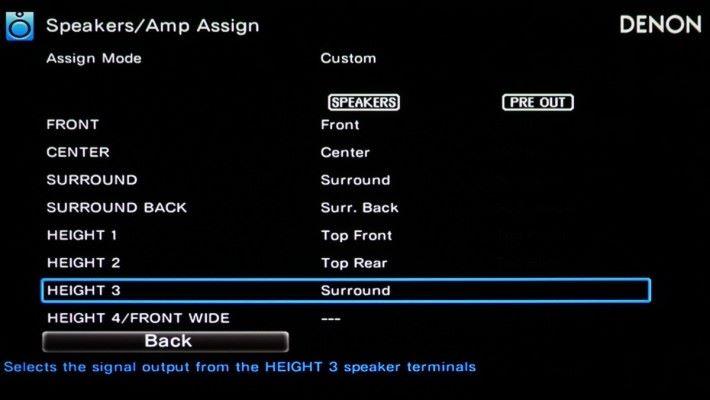 .X8500H 的 Speaker/Amp Assign 選項除了可選擇預設的揚聲器佈局外,下方的「Setting」選項,可以讓用戶個喇設定每組喇叭的指定聲道,《PCM》影音室的佈局長窄,因此將接駁到 HEIGHT 3 的 FRONT WIDE 喇叭改成 Surround,由 9.2.4 聲道變成 7.2.4 聲道,一來用盡 X8500H 的13聲道擴音,二來可擴大環繞聲覆蓋的「皇帝位」範圍。