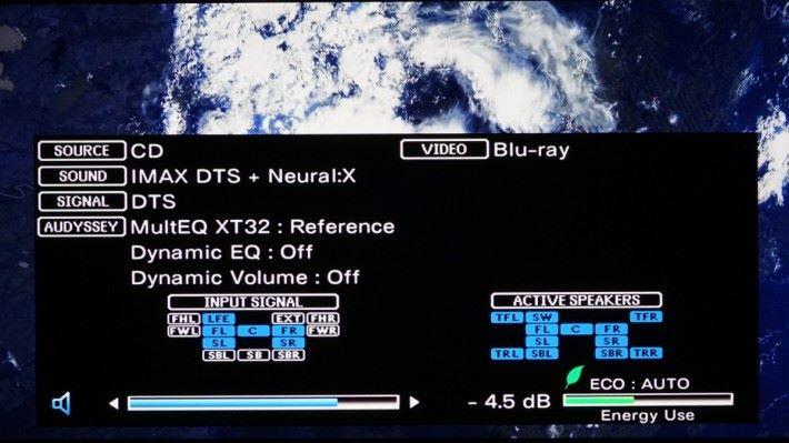 .成功將 DTS:X 或 Dolby Atmos 改由 DTS 方式輸入,無論是 HDMI 或 同軸/光纖方式,X8500H 都會收到 DTS 訊號,到時就可以選擇 IMAX DTS,或者 IMAX DTS + Neural:X,成功模擬出 iMAX Enhanced 11 聲道環繞聲。