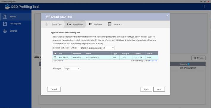 先在 SSD Profiling Tool 選擇 SSD 作測試。