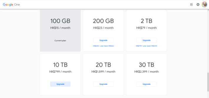 Google One 提供 6 個月費計劃。