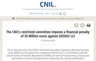 Google 首次判罰是法國 GDPR 定罪案例