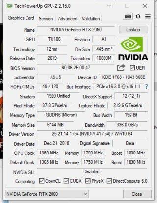 《 GPU-Z 2.16 》可識別 RTX 2060 核心資料