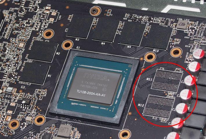 因利成便,眾廠商以 RTX 2070 PCB 來生產首批 RTX 2060 ,表現在焊空 2 顆GDDR6。