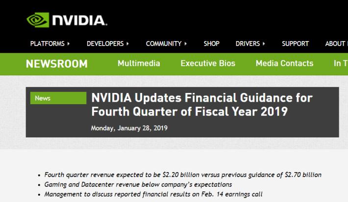 NVIDIA 發新聞稿指 FY2019 Q4 的業績不佳。