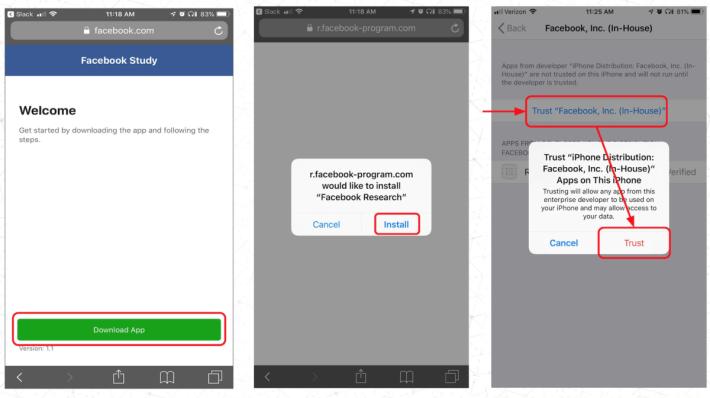安裝 Facebook Research App 時要作出明確的「信任」,這樣就會讓 Facebook 的開發人可以全面取得手機的資料。