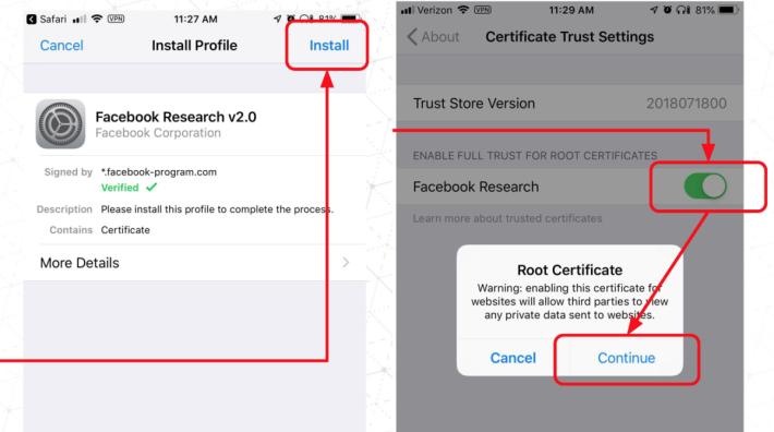 程式會在手機上安裝 Facebook 自己簽發的根憑證,這會令手機存取 Facebook 自製的加密網絡服務時不會發出警告。