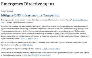 美國國土安全部要求各政府部門採取措施防止 DNS 竄改事件發生。