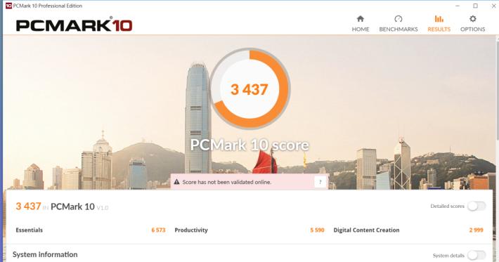 PCMark 10 獲 3,437 分,成績於同級筆電中屬頂級。