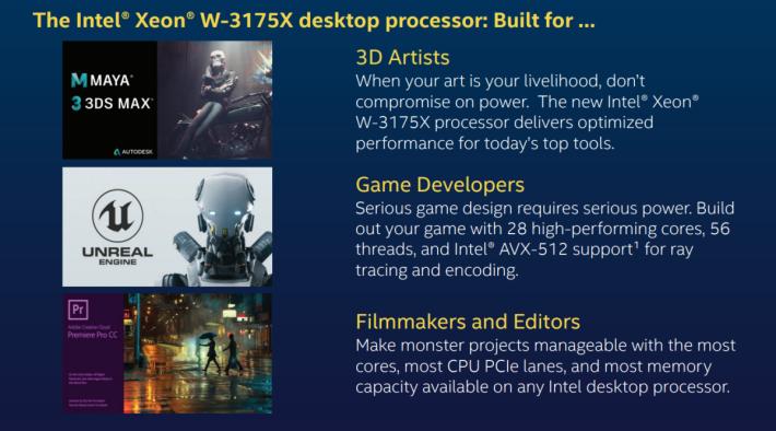 例如你用 Autodesk Maya / 3DS Max 的 3D 模型創作、Unreal Engine 遊戲編寫程式、或 Adobe Premiere Pro 剪片,都可用 Xeon W-3175X 令你的工作更暢順。