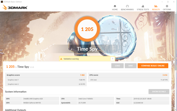 3DMark Time Spy 獲 1,205 分,達 MX150 應有水平。