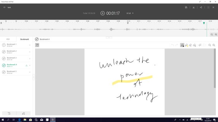 要添加筆記,就按左下角的鉛筆 Logo。回播錄音時,會對應時間自動顯示當刻所添加的 Bookmark 筆記。