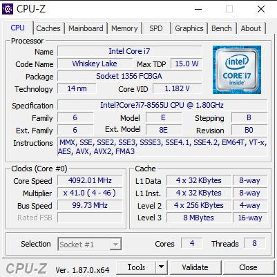 採用新一代 Intel Whiskey Lake i7-8565U CPU,製程仍是 14nm。