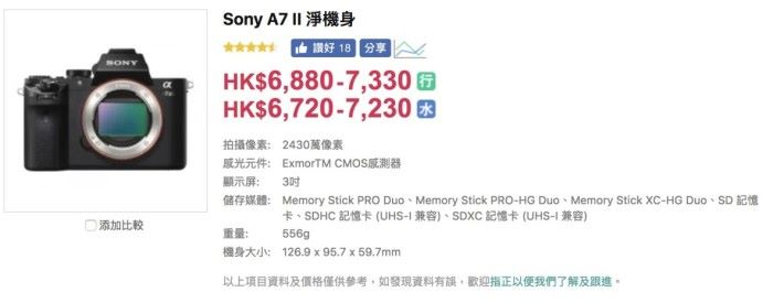 Sony A7II 淨機身市價低至 $6,800-$7,400 的水平,令規格差不多的 EOS RP 變得沒那麼吸引。