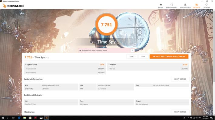 《3DMark Time Spy》測試取得 7,751 分。