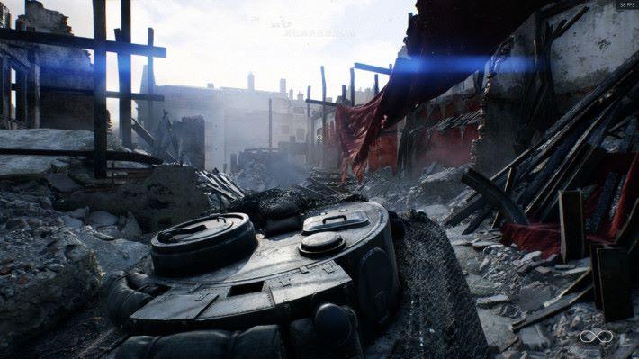 「最後的猛虎」中,明顯看到戰車被陽光所照射時所呈現的反光效果是即時宣染。
