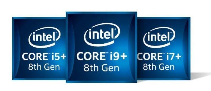 尾帶加號的 CPU 會採用深藍色的標誌,而普通的第 8 代 H 系 CPU 則用平常的淺藍色標誌。
