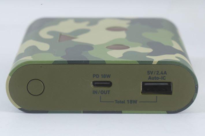 提供一個 USB-A 及 Type-C PD 輸入/出。