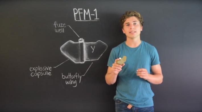 PMF1 蝴蝶雷的整體以塑膠製成,中央部分到達一定壓力便會引爆。