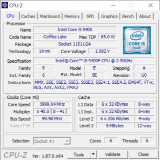 《 CPU-Z 》顯示 Core i5-9400F 在 Stepping 上未有變動