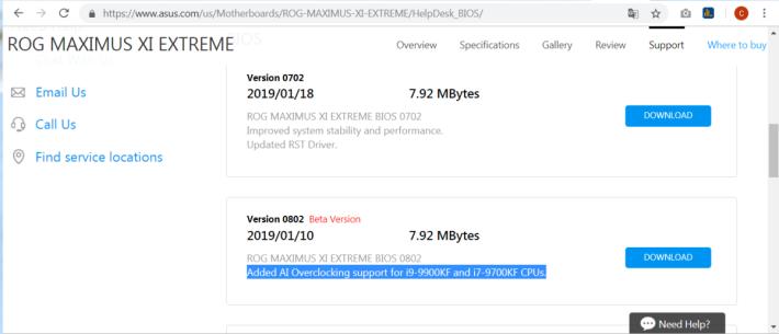 主機板廠商有為 KF 及 F 型號推出特別的 BIOS 。圖為 ASUS ROG MAXIMUS XI EXTREME 0802 Beta BIOS 。