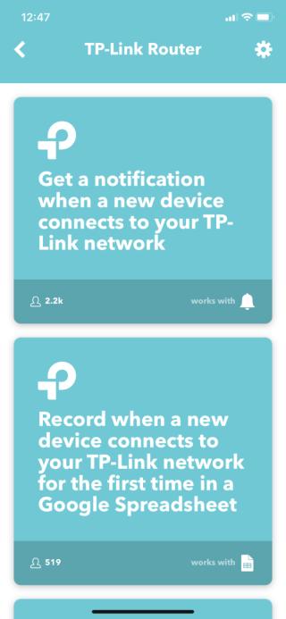 可於 IFTTT 找到適用於 TP-Link Router 的多款小程式(Applets)。