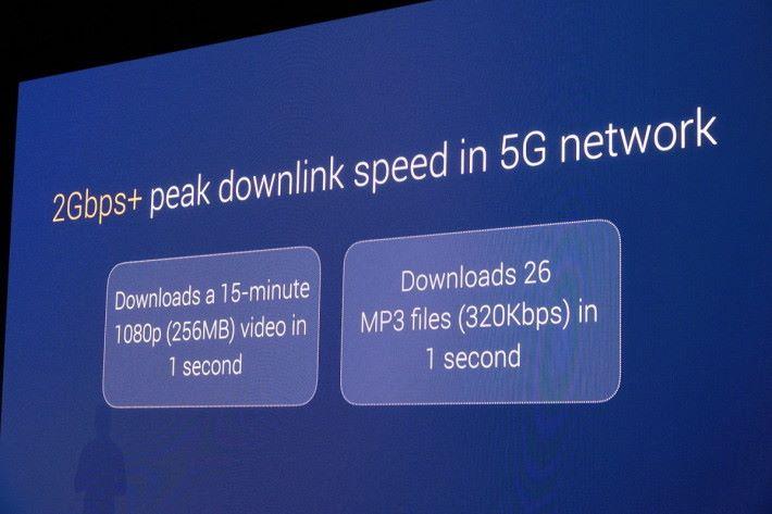 Snapdragon X50 modem 下載速度有 2Gbps。
