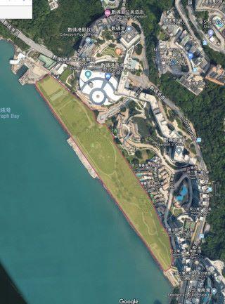 發展數碼港第五期,可能要改動現時數碼港海濱公園的範圍(圖片僅供參考,以正式公布為準。地圖:Google Maps )
