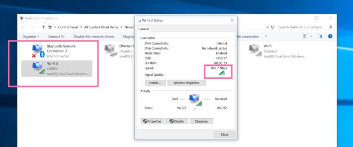 安裝好 Wi-Fi 卡後,可於控制台的介面卡設定看到分為藍牙和 Wi-Fi 兩部分。(紅框為此 MSI Wi-Fi 卡,其餘為主機板本身所具備的。)理論速度達 867Mbps。
