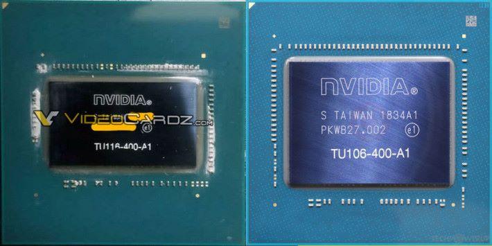 左邊為 GTX 1660 Ti 的 TU116(Source:Videocardz),右邊為 RTX 2060 的 TU106(Source:TechPowerUp)。明顯 GTX 1660 Ti 的 GPU 較細小。