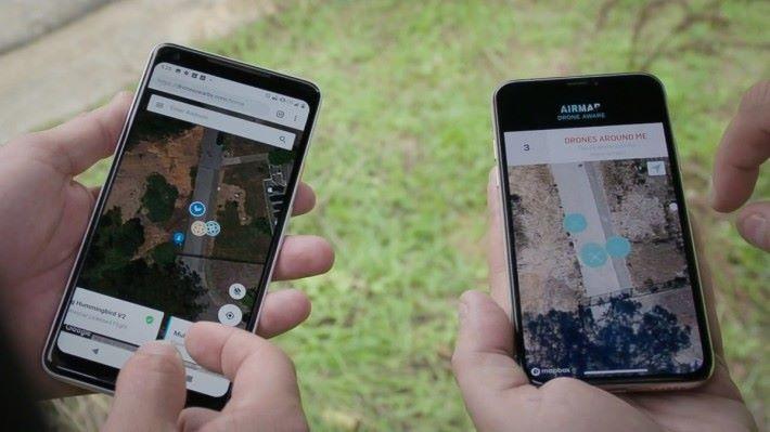 空管人員、執法者和公眾可以透過手機程式看到頭上飛過的無人機是由誰操控和它的飛行路徑