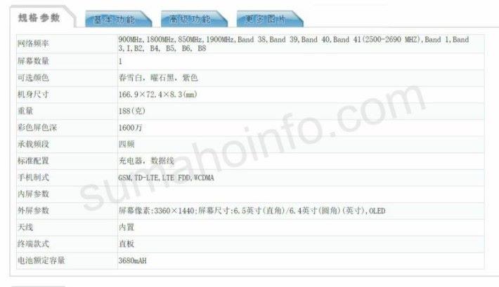 大陸工信部(TENNA)早前已刊出疑似新機的部份規格。新機使用 Snapdragon 855 處理器,內置 8GB RAM 及配備雙鏡頭主相機等。