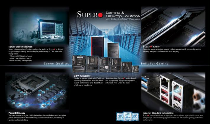 SuperMicro 電競主機板均強調 Server 級穩定性、耐用性、功耗等。