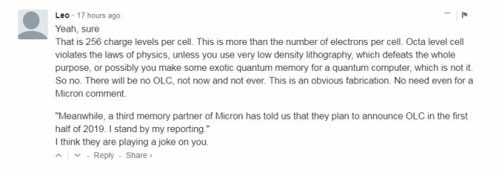 網民 Leo 於 Wccftech 文末留言,表示 OLC 根本不符合物理。